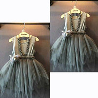 2015 Girls Clothes Kids Vintage Gray Sleeveless Tulle Skirt Kids Party Dress 2 7