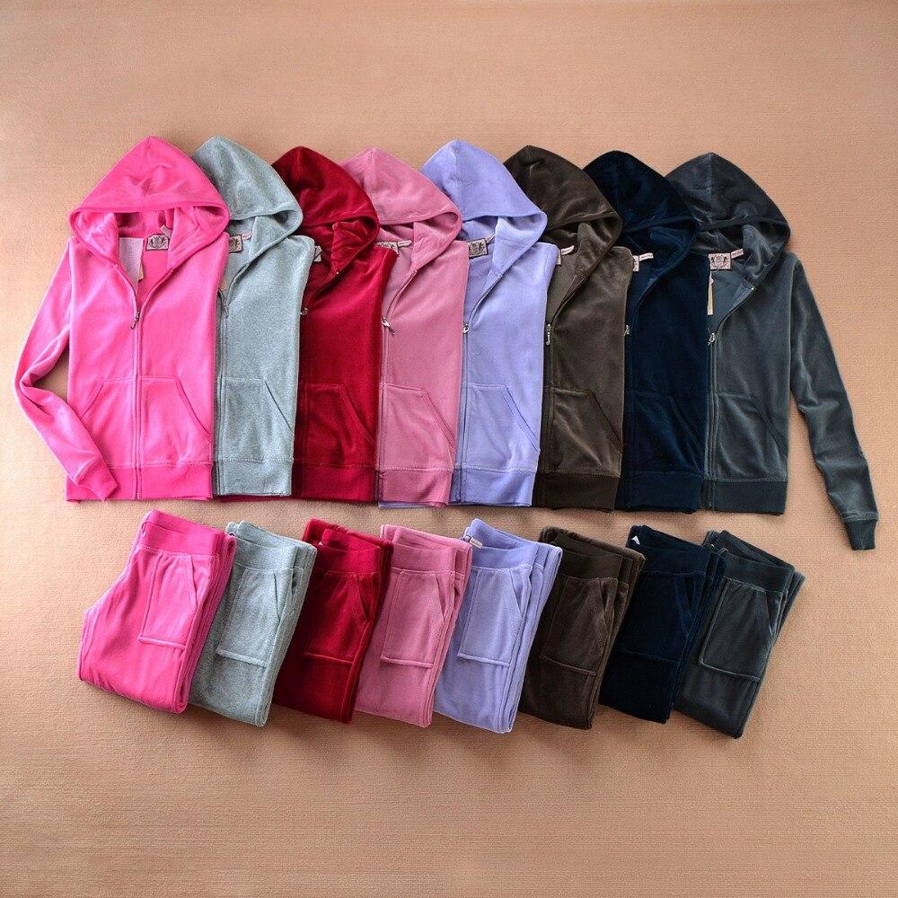 Feminino veludo duas peças outfits casual estilo moletom hoodies manga longa topos e calças de treino para o esporte S-XXL