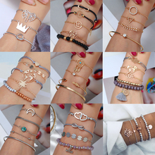 HOCOLE Fashion Charm Metal Bracelet Sets For Women Bohemian Leaf Heart Bead Multi-layer Gold Chain Bangle Jewelry Party