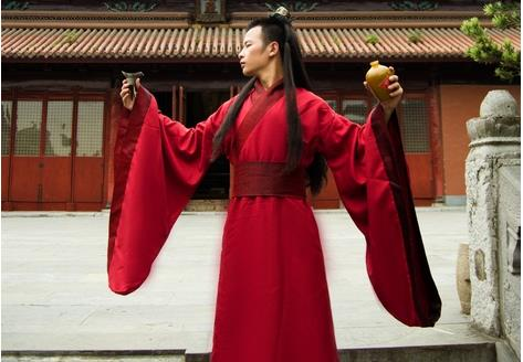 hot sale fashion 2015 new man's chinese Ancient Hanfu costume Traditional red,white,black stage clothes men s- xxxl size