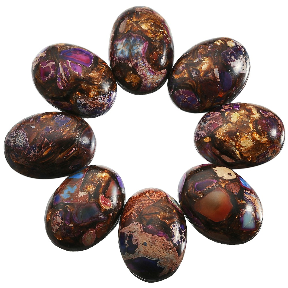 SUNYIK 1Lot (5Pc) Purple & Brown Sea Sediment Jasper Oval Stone Cabochons Flatback Semi-precious CAB for Jewelry Making,18x25mm