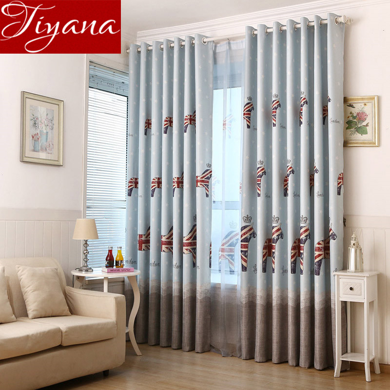 caballos pura voile cortinas de impresin historieta de los muchachos nios habitacin ventana dormitorio cortinas cortinas