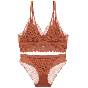 Image 5 - Full lace wireless cotton cup comfortable ladies underwear sets Soft cup triangle bralette and transparent panties bra lingerie