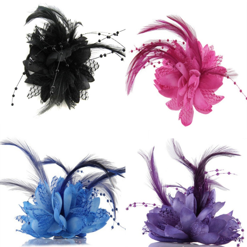 Hot Women Ladies Flower Feather Bead Corsage Hair Clips Fascinator Bridal Hairband Brooch Pin K2  2016 trendy fabric blooming peony flower corsage brooch woman hair decorations