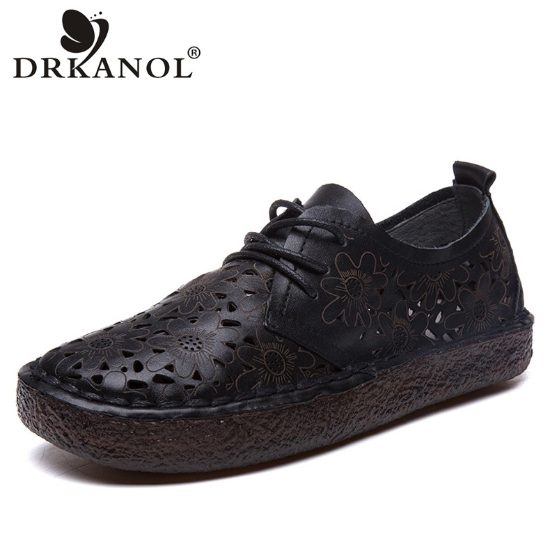 DRKANOL 2018 Vintage Style Women Flat Shoes Handmade Soft Genuine Leather Oxford Shoes For Women Breathable Hollow Casual Shoes 2018 new summer casual genuine leather hollow flat shoes green black women shoes comfortable and breathable hole shoes obuv