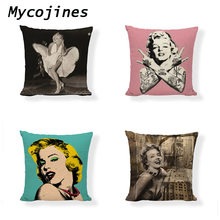 Sexy Marilyn Monroe Cushion Cover Linen Statue Of Liberty Flower Retro Architecture Ladies car seat Home Sofa Decor Pillowcase(China)