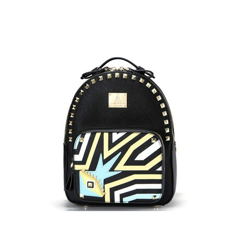 Bromen Personality Fashion Rivet Pu Leather Women Backpack 2017 Brand Design Hit Color Tote Bags College Wind Ladies Schoolbag fashion design women backpack leather star rivet black female youth satchel