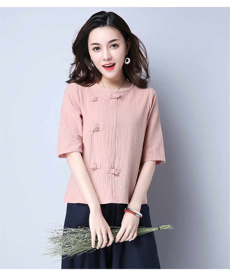 Cotton 2018 Summer Half Sleeve Loose Lady Vintage Women Shirt O Neck Chinese Style Linen T-Shirt Button 3XL 16