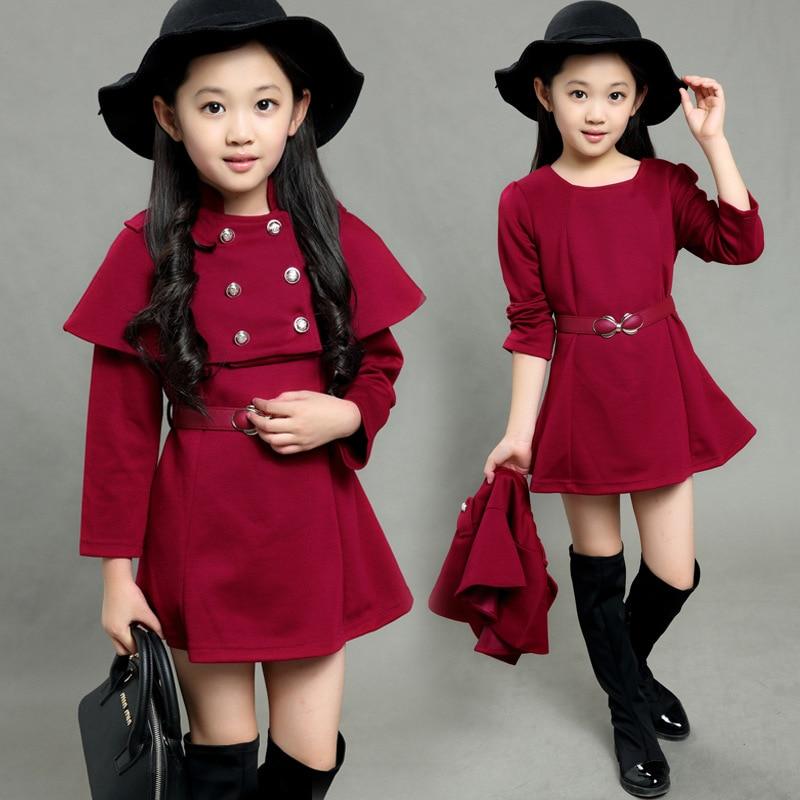 6dde51ae258c Fashion street 2 pcs poncho style children girl fall fashion dresses ...