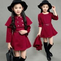 Fashion Street 2 Pcs Poncho Style Children Girl Fall Fashion Dresses Kids Clothes Girls China Brand