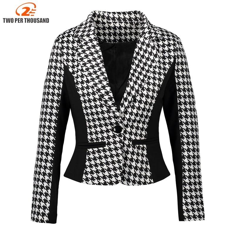 Fashion Women Suits Autumn Plus Size 3XL Office Work Wears Slim Black White Houndstooth Blazer And Cardigans Ladies Jackets