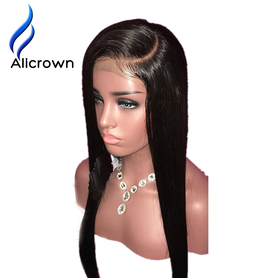 ALICROWN C Part Lace Front Human Hair Wigs With Baby Hair Bleached Knots Remy Straight Lace