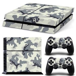 Image 5 - Camouflage Kunststoff Vinyl Haut Aufkleber Für Sony Playstation 4 Konsole mit 2 Controller Abdeckung Für PS4 Gamepad Joypad Aufkleber