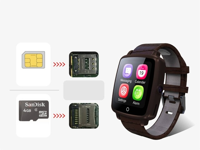 US $45 69  kebidumei Fashion Bluetooth Leather Strap Smart Watch Support  SIM Card TF card Video Play for IPhone/Samsung/Xiaomi with quality-in Smart