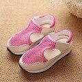 Muchachas del verano Sandalias de La Princesa de Las Niñas Niños Zapatos Sandalias Planas de La Moda Zapatos de Suela de Goma Tamaño 21-37