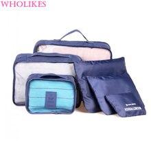 New Nylon Men Women Luggage Travel Bag Packing 6 pcs / set Nylon Cube Packaging Bag Unisex Clothing The large Capacity Travel Ba