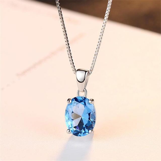 2018 New Hot 2.63ct Cushion-Cut Genuine Sky Blue Topaz Pendant Necklace 925 Ster