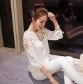 Новые Моды для Женщин Пуловер Блузка Кружева Рубашки Женщины Блузка С Длинным Рукавом Женщины Рубашка Топы Размер S, M, L, XL