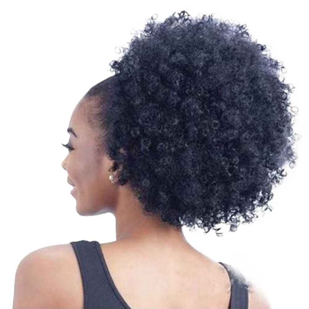 High Puff Afro Curly Ponytail Drawstring Short Afro Kinky Curly Pony Tail Clip in on Synthetic Curly Hair Bun Made of Kanekalon