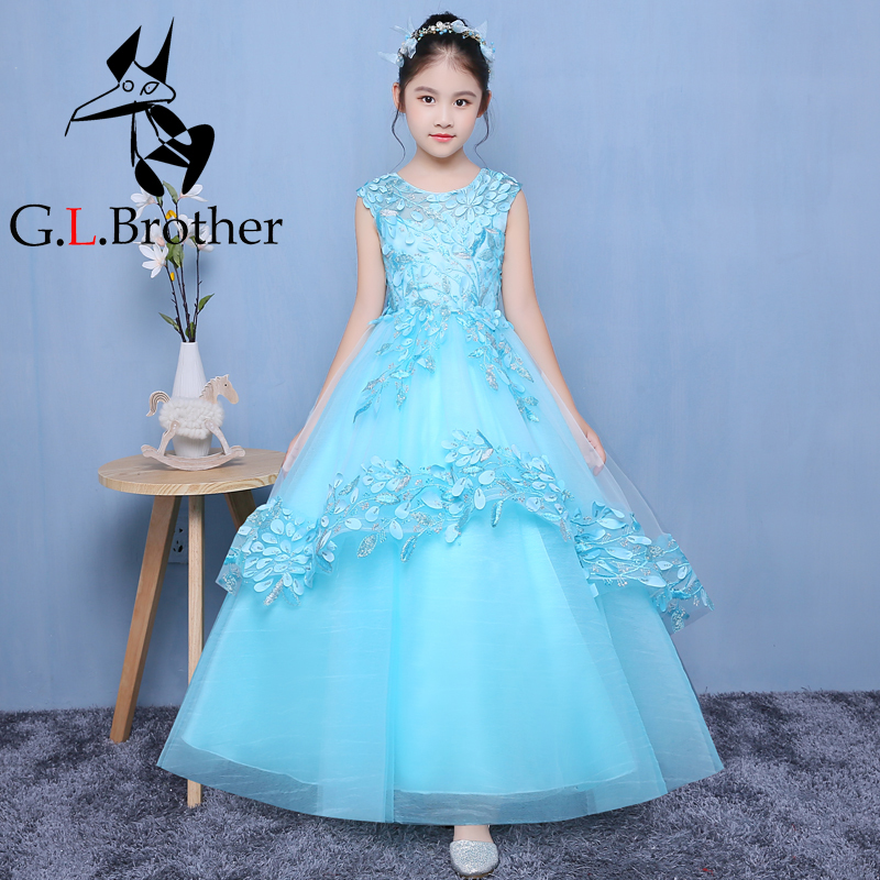 Appliques Flower Girl Dresses Ball Gown Girls Formal Dress Floor Length Kids Pageant Dress For Prom Party Birthday Costume B43 недорого