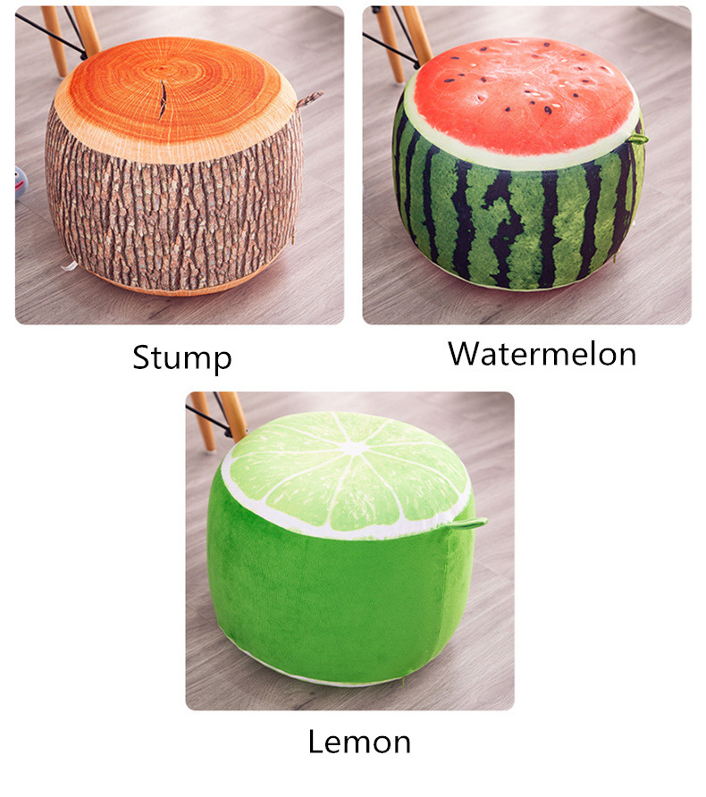 Tree Stump Fruit Cartoon Plush Inflatable seat seat Sofa Thickened Folding Stool Gifts for Children