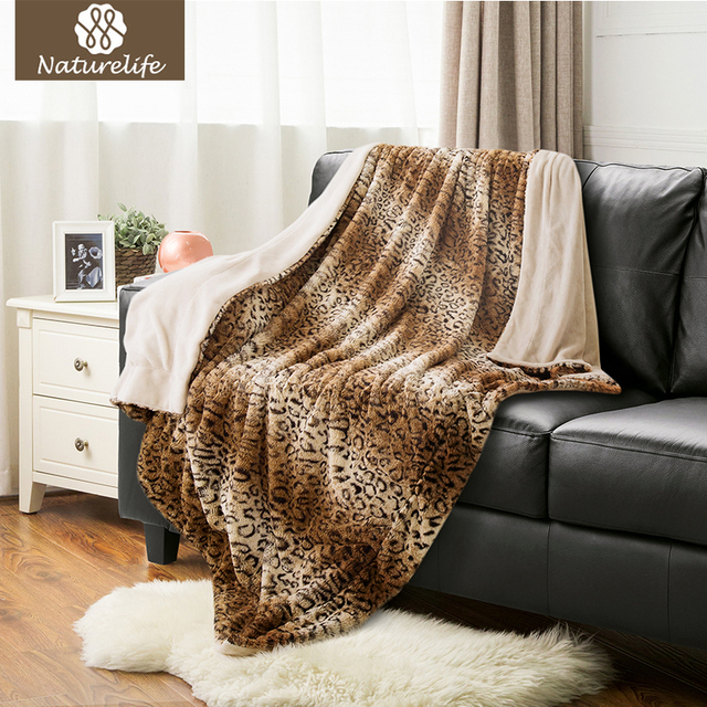 Naturelife Reservibe Soft Faux Fur Blanket Warm PV Fleece Blankets Throw On  Sofa Bed Plane Leopard