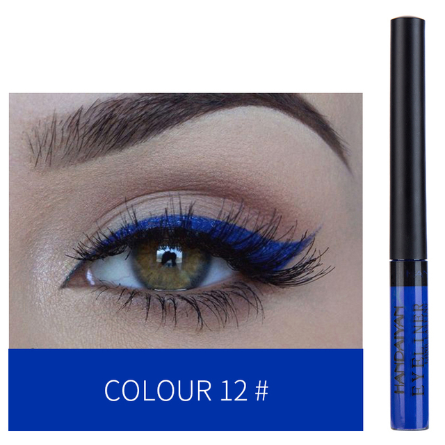 HANDAIYAN 12 Colors Waterproof Liquid Eyeliner Makeup Black White Pink Color Glitter Eye Liner maquiagem China Makeup TSLM2 3