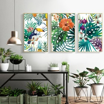 Sure Life Refreshing Rain Forest Green Plants Parrot Poster Prints Leaves Canvas Printings Wall Art Pictures Living Room Decor Leather Bag