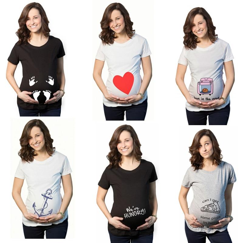 Летние футболки для беременных с коротким рукавом Повседневная Одежда для  беременных забавная для беременных женщин Marternity 03d8cb1b4bb