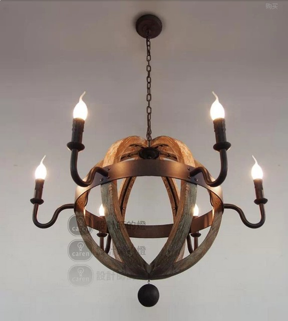 Luxury vintage wooden rustic iron pendant chandelier retro country lamps for bar restaurant bedroom lighting chinese style wooden 1 2 3 heads lamps chinese restaurant new classical restaurant chandelier wooden sheepskin chandelier