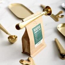 Clip de sellado de cuchara de café de acero inoxidable, accesorios dorados para cocina, decoración de cafetería expreso