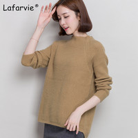 Lafarvie 2017 New Women Cashmere Sweater Autumn Winter Casual Loose O Neck Long Sleeve Female Knitted