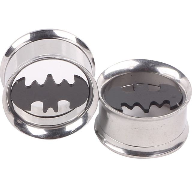 Double Flare Steel Batman Ear Plugs Screw Fit Body Jewelry For Man