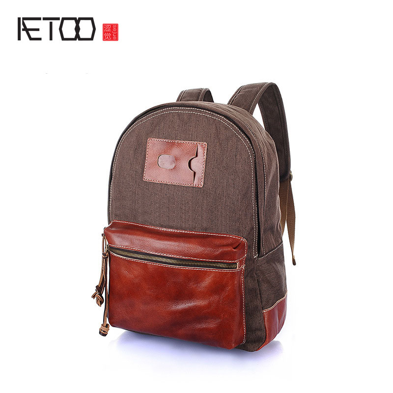 AETOO new canvas women's shoulder bag casual  retro leather with canvas backpack hit color cowhide male computer bag aetoo the new canvas shoulder bag tide retro shoulder bag student backpack two color stitching backpack computer bag