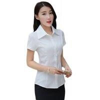 Verano camisa suelta mujeres más tamaño Top femenino nuevo manga corta blanca blusas Delgado era mujeres del viajero trabajos camisa