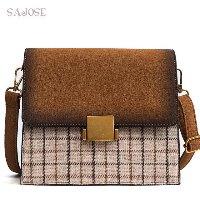Women Leather Handbag Fashion Brand Designer Houndstooth Lady Simple Tote  Bags For Girls Female Vintage Shoulder 81c9466c542a7
