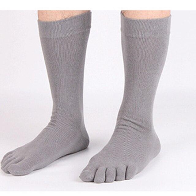 32b0b91eff58 Men Five Finger Toe Socks Elastic Men s Business Dress Breathable Soild  Cotton Long Sox High Quality Crew Socks Running