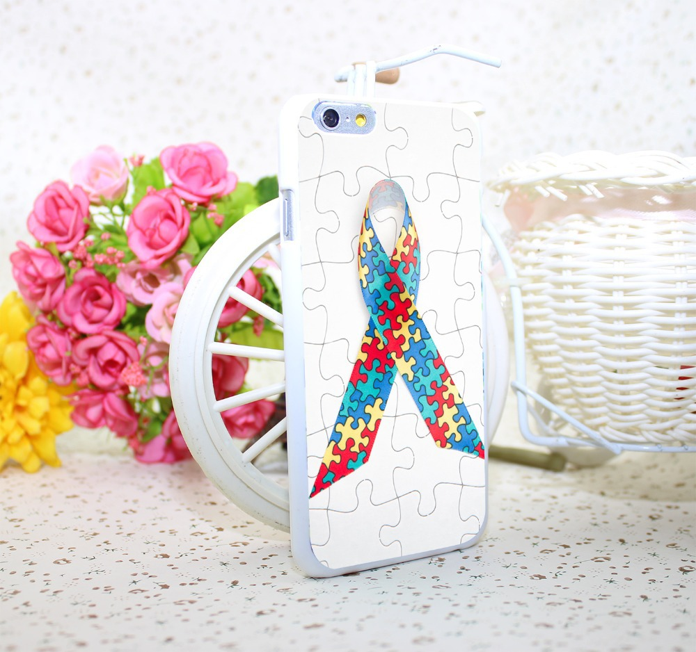 Puzzle Autism Awareness White Hard Case Cover for iPhone 6 6s plus 5 5s 4 s White Skin Print Series