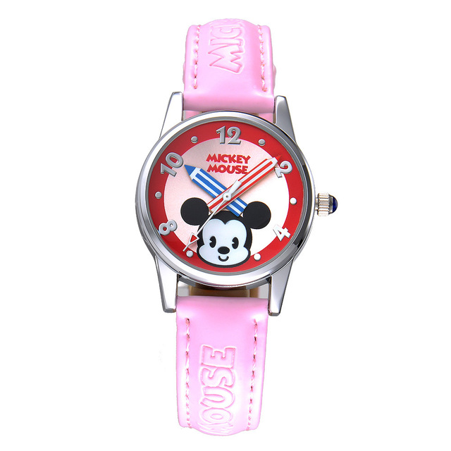 Disney Fashion Kids 4 Colors Mickey Lovely Animation Boy and Girl Favorite Hristmas Birthday Gift Cartoon Quartz Wrist Watch