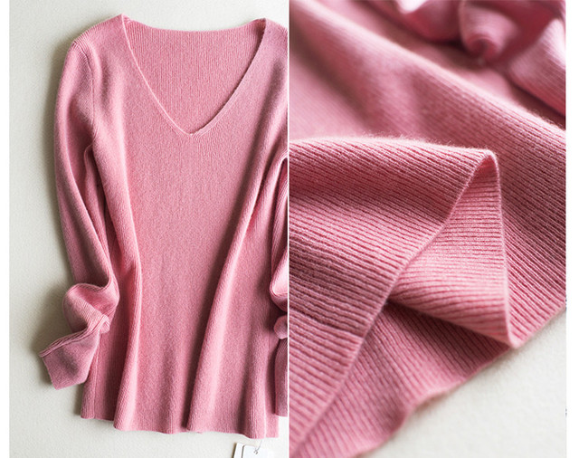 US $140 8 12% OFF 100%goat cashmere knit women's basics sweater pullover V  neck slim shaping solid color S/M/L/XL-in Pullovers from Women's Clothing