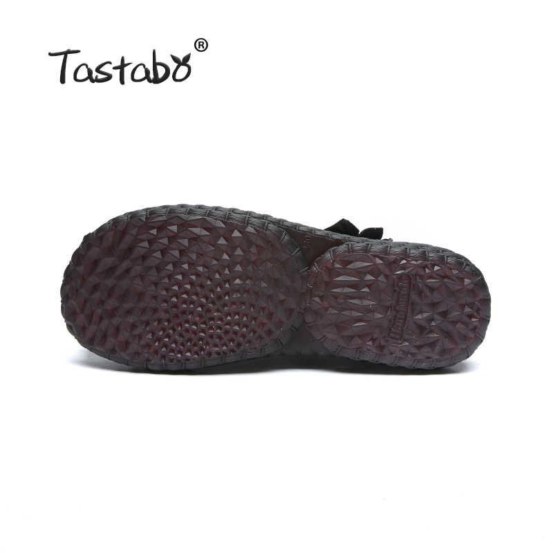 Tastabo Winter Stiefel Aus Echtem Leder Stiefeletten 2018 Neue Design Runde Kappe Weichen Bequemen Braun Schwarz Wohnungen Stiefel Frauen