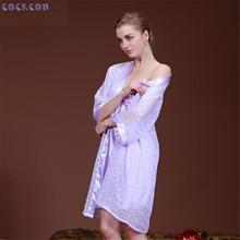 COCKCON Women Robe Gown Set 2017 Fashion Faux Silk Robe Femme Satin Sleepwear Home Suit Night Sleep 2 pcs Bathrobe Set 7711