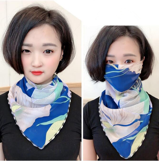 Women's Spring Summer Big Sunscreen Mask Sunscreen Silk Scarf Lady's PM 2.5 Breathable Riding Mouth-muffle R831