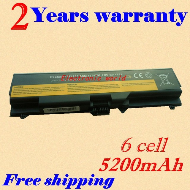 Batería del ordenador portátil para lenovo thinkpad sl510 2847 jigu sl510 2875 serie thinkpad t410 t t410i t420 t510 t510i t520 sl510 W510