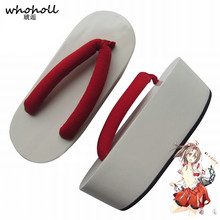 купить WHOHOLL Geta Kantai Collection Zuih Comiket Cosplay White Lacquered 7cm Thick-soled Flip-flops Japanese Geta Geisha Clogs Shoes дешево
