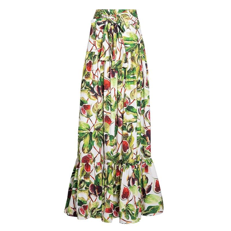 2019 Casual Fruits Lady Parole Maxi Jupes Taille Jupe Été Femmes Longueur Long Floral Imprimé Printemps Doux Mode Haute AAZqpE