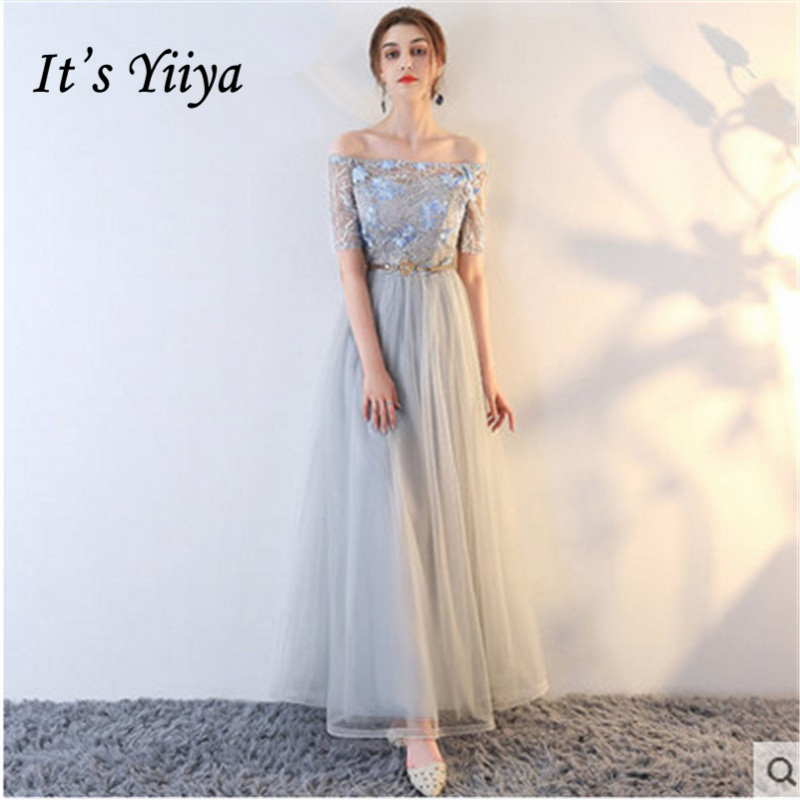It's YiiYa 2018 4 Styles Short Sleeve Boat Neck Fashion Designer Lace Bridesmaids Dresses Ankle-Length Formal Dress LX698