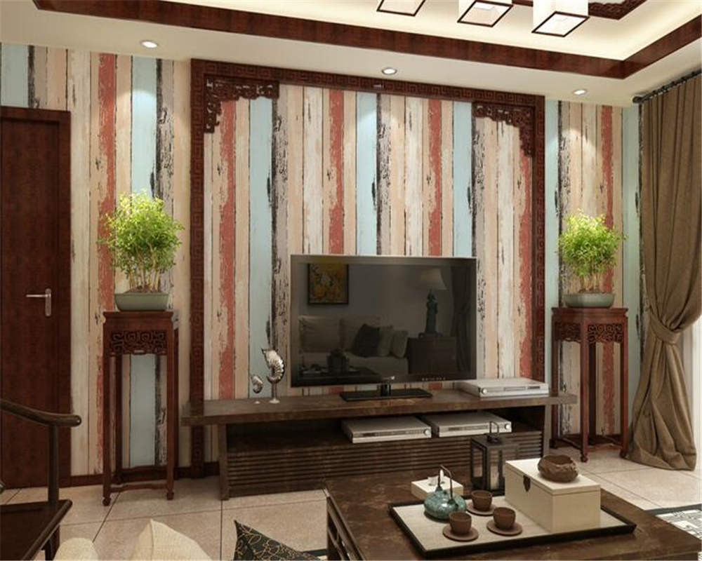 beibehang Retro color PVC board wood 3d wallpaper old stripes living room shop bar Mediterranean papel de parede wall paper beibehang papel de parede american retro wood to do the old wooden letters tower wallpaper bar cafe clothing personality striped