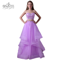 Long Sweetheart Prom Dresses 2017 Sexy Two Piece Beading Top Ruffles Tulle Skirt Formal Evening Party Gowns