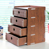Multifunctional Storage Boxes Manual DIY Wooded Storage Drawers Home Office Sundries Storage Box Organizers 4 Layer Storage Bin